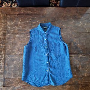 LAUREN Blue Linen Sleeveless Shirt - L